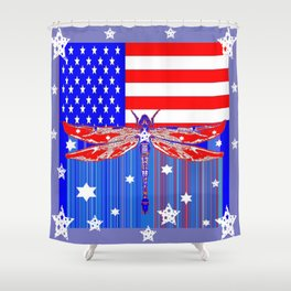 Red-White & Blue 4th of July Celebration Art Shower Curtain