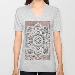 Dreamer Mandala White On Rose Gold Unisex V-Neck