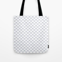 Modern navy blue white scallope pattern Tote Bag