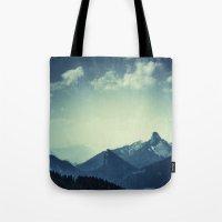 mountains Tote Bags featuring Mountains by Koka Koala