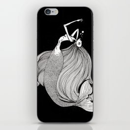 Drowning mermaid (black) iPhone Skin