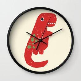 Cute Red T-rex Dinosaur Wall Clock