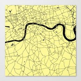London Yellow on Black Street Map Canvas Print