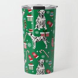 Dalmatian dog breed christmas holiday presents candy canes dalmatians dogs Travel Mug