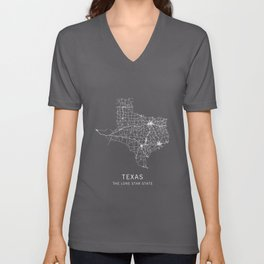 Texas State Road Map Unisex V-Neck