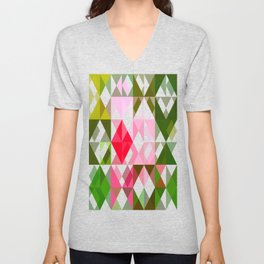 Pink Roses in Anzures 4 Abstract Triangles 1 Unisex V-Neck