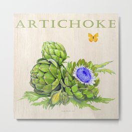 Artichokes and their Blossoms Metal Print