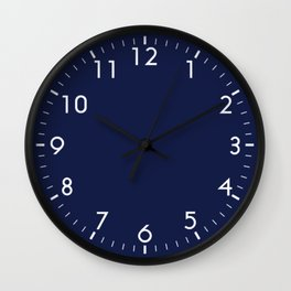 Navy Blue Minimalist Solid Color Block Wall Clock