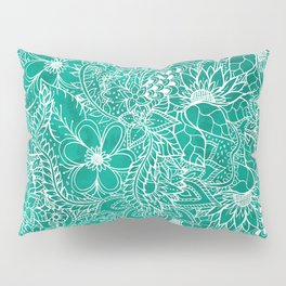 Modern hand drawn floral lace emerald green watercolor Pillow Sham