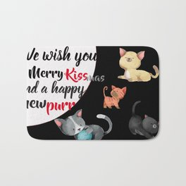 We wish you a merry Christmas and a happy new purr Bath Mat