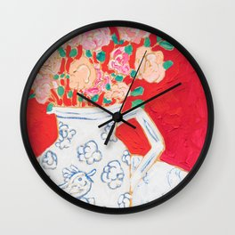 Delft Bird Pitcher on Red Background Wall Clock