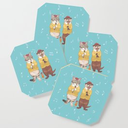 A GIRL WITH CAT and OTTER wide Coaster