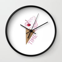icecream Wall Clocks featuring Icecream by Anca Avram