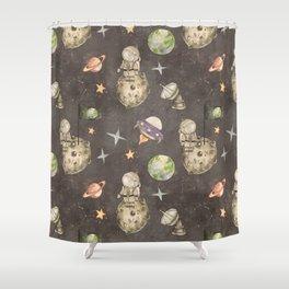 Moon landing dark Shower Curtain