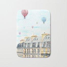 Architecture Paris and air balloon watercolor Bath Mat