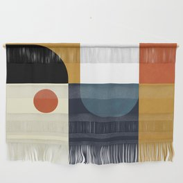 mid century abstract shapes fall winter 4 Wall Hanging