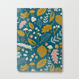 Fall Foliage in Blue and Gold Metal Print