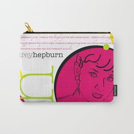 Audrey Hepburn / Typography Layout / Pink Carry-All Pouch