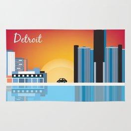 Detroit, Michigan - Skyline Illustration by Loose Petals Rug