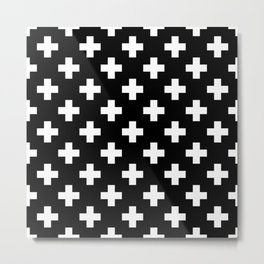 Black & White Plus Sign Pattern Metal Print