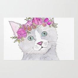 Kitten Flower Crown Watercolor Rug