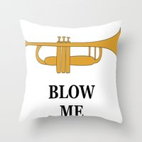 trumpet Throw Pillows featuring Trumpet by Laura Maria Designs