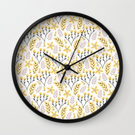 Yellow Floral on White Wall Clock