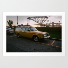 Yellow Volvo Station Wagon Art Print