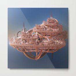 Rose Gold Floating Fractal City Metal Print