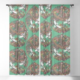 tree of life green Sheer Curtain