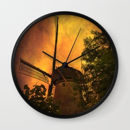Old windmills in small town of Woudrichem, Holland Wall Clock
