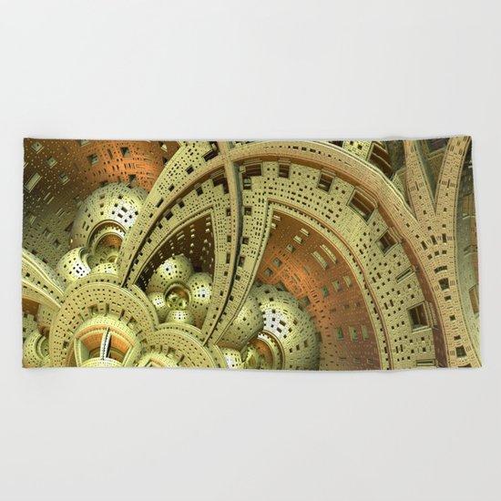 Industrial Steam Punk Cogwheels Beach Towel