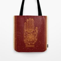 hamsa Tote Bags featuring Hamsa by Stranger Designs