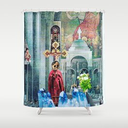 I Live Below Shower Curtain