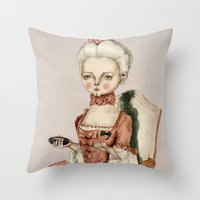 marie antoinette Throw Pillows featuring Marie Antoinette by Maripili