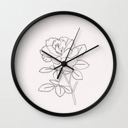 Rose line drawing illustration - Cara I Wall Clock