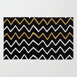 Writing Exercise-Simple Zig Zag Pattern- White Gold on Black -Mix & Match with Simplicity of life Rug