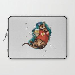Cat Galaxy cinemaholic in superhero flash tshirt With popcorn Laptop Sleeve
