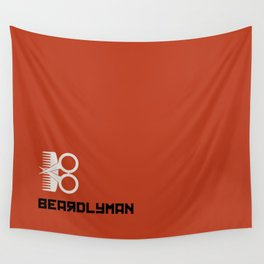 Beardlyman Logo and Name on Orange Wall Tapestry