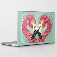 flamingos Laptop & iPad Skins featuring Flamingos  by ArtLovePassion