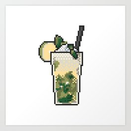 Refreshing icy lemonade with mint, lemon and ice pixel art on white background. Art Print