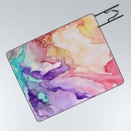 Color My World Watercolor Abstract Painting Picnic Blanket