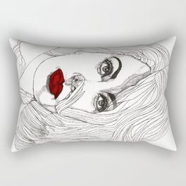 Sophia with Red Lips Rectangular Pillow