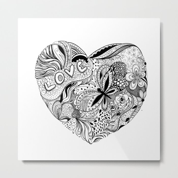 Floral heart for Valentines day Metal Print