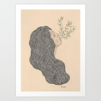 in her mouth Art Print