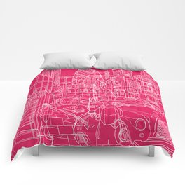 London! Hot Pink Comforters