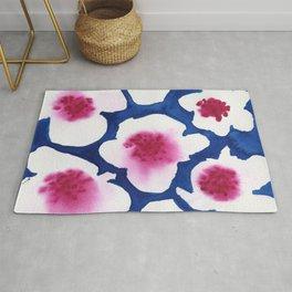 Splendor -dark blue and pink floral watercolor Rug