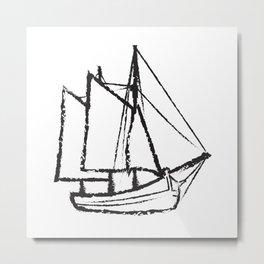 Ship Line Art Metal Print