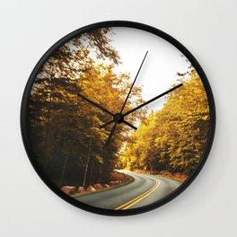 acadia road in autumn Wall Clock
