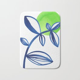 Blue and lime green minimalist leaves Bath Mat